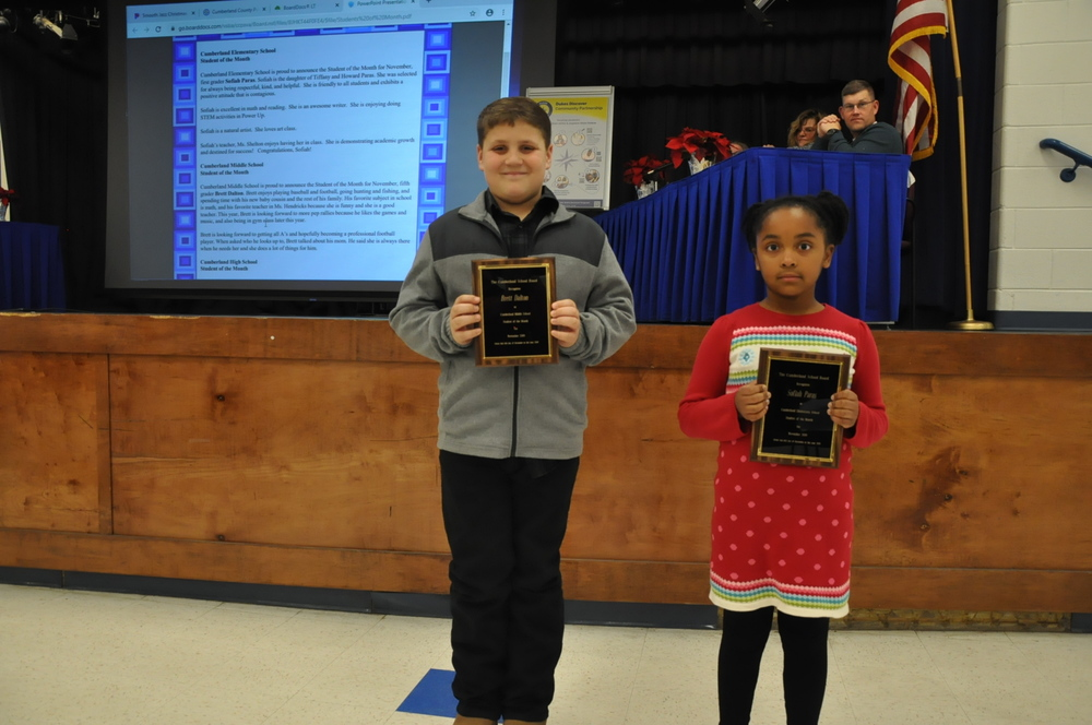 CuCPS Students of the Month Recognized at December School Board Meeting