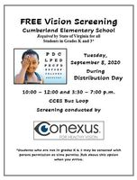 Free Vision Screening for Kindergarten and 3rd Grade Students
