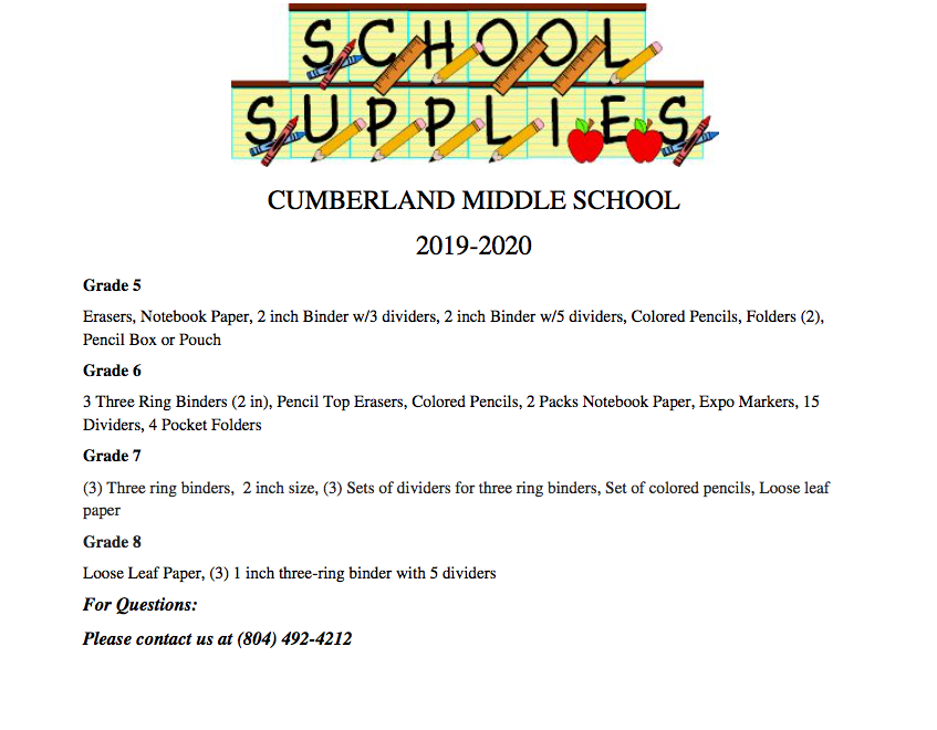CMS Supply List