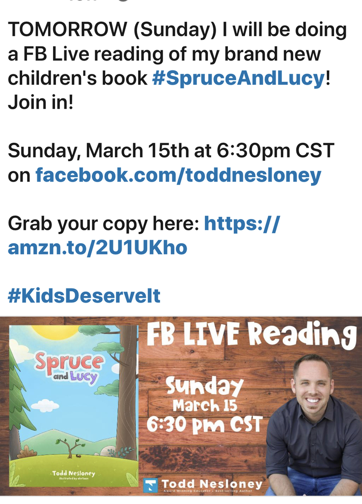 Facebook Live Read aloud schedule