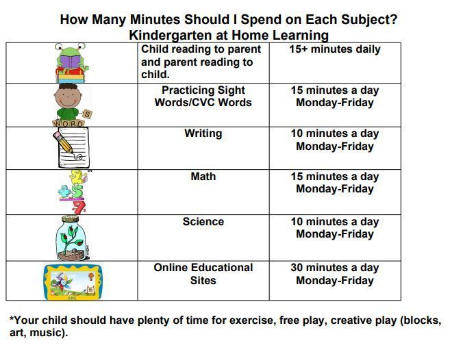 At home learning schedule